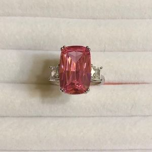 Simulated Pink Sapphire And CZ Ring